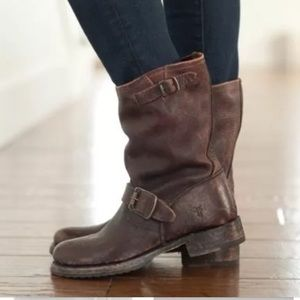 frye veronica short boot dark brown 6